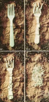 Descomposición de un tenedor de plástico biodegradable hecho en base a maiz