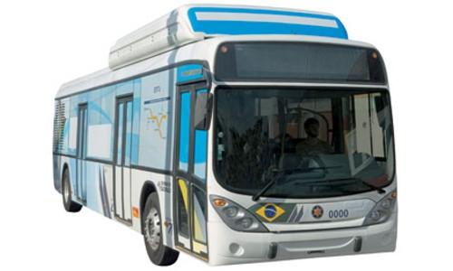 Autobus a hidrógeno que circula por las calles de San Pablo en Brasil