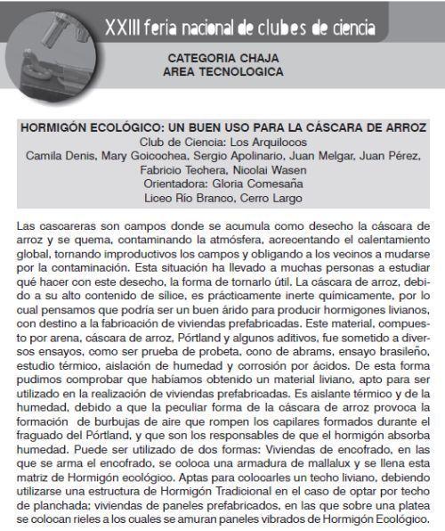 Hormigón ecologico en la Feria Nacional de Clubes de Ciencia