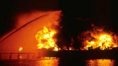 Jupiter, derrame de petróleo en el río Saginaw, Bay City en Michigan
