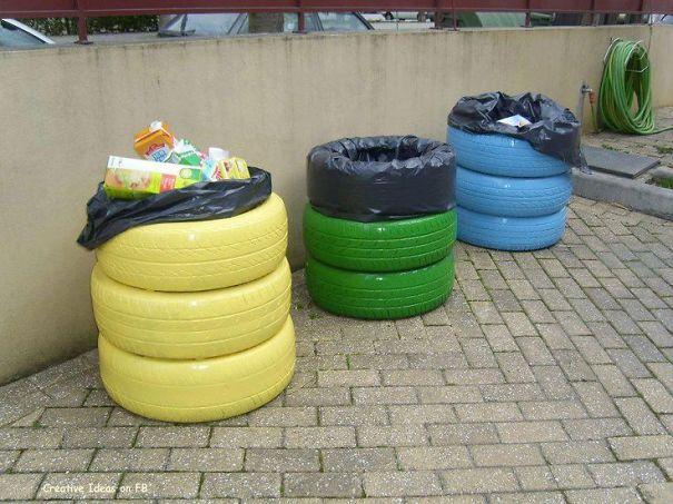 Cestos de basura con neumáticos