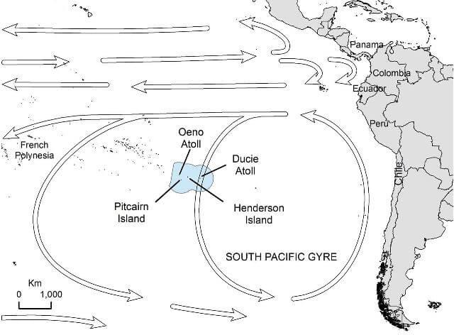 Isla Henderson en el borde del giro del Pacífico Sur