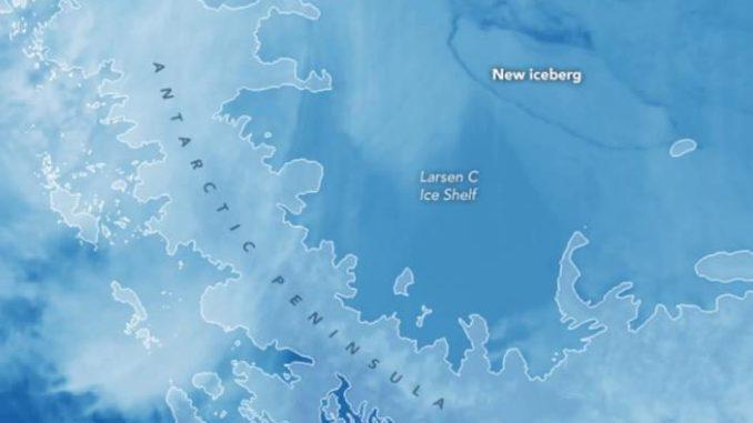Imagen satelital del nuevo iceberg de La Antártida