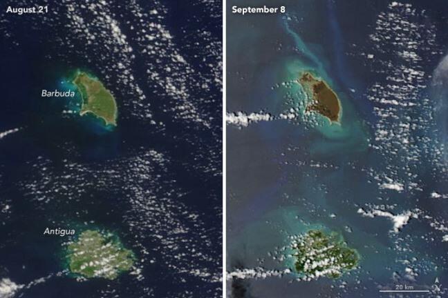 Isla de Barbuda antes y después del paso de Irma