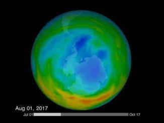 Una imagen animada del agujero en la capa de ozono sanando