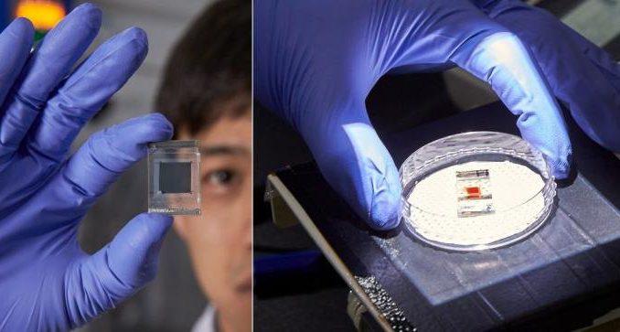 cs2SnI6. Fluido de perovskita sin plomo (izquierda) y células solares orgánicas sensibilizadas con colorante (derecha).