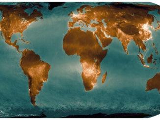 Un mapa satelital que brilla en zonas de contaminación por dióxido de nitrógeno