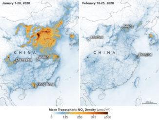 Mapa satelital en el que se observa la disminución de la contaminación debido a la cuarentena por el coronavirus