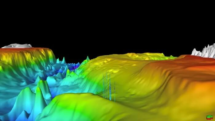 En esta reconstrucción digital, se puede ver el metano elevándose como llamaradas desde el fondo del mar.