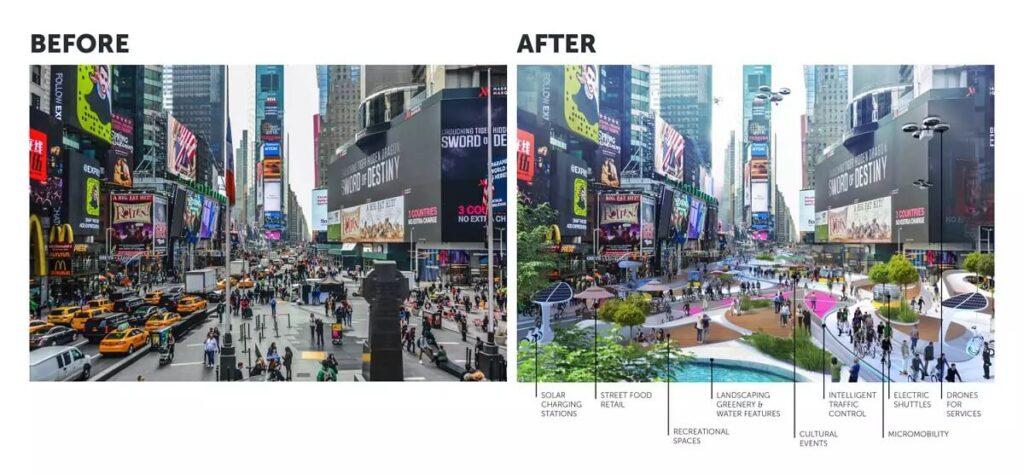 El Times Square: Antes (izquierda) y Después (derecha)